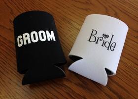 bride groom koozies
